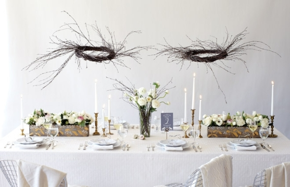 Branches centerpieces, candle sticks, table numbers, white linens, reception, candelabra, brass, gold, silver, winter wedding,