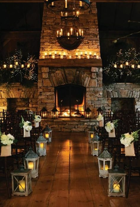 Fireplace wedding, rustic country venue, candle lit ceremony, stone fireplace, centerpieces, aisle